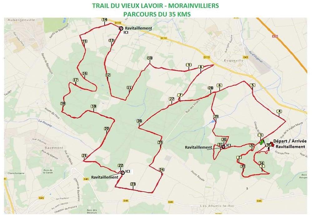 Le parcours du Trail à Morainvilliers