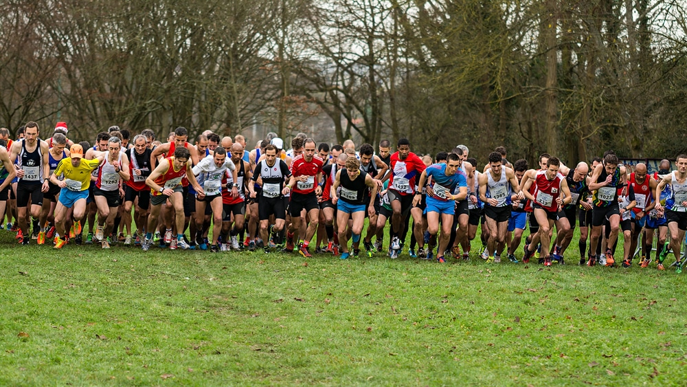 Les coureurs du cross de Cergy qui s'élancent