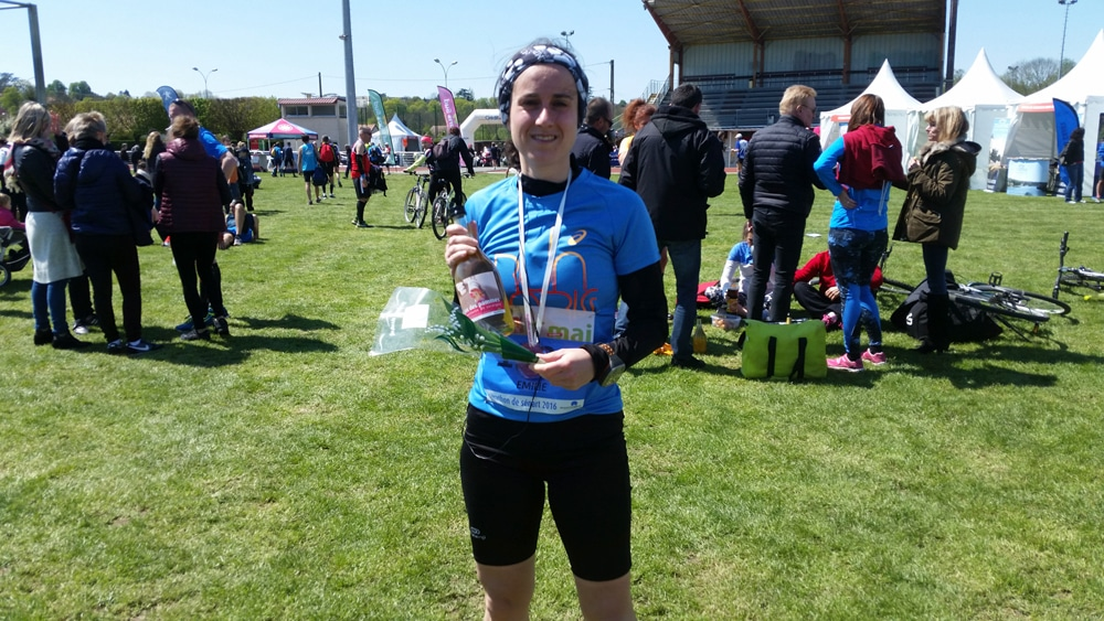 Mimi à l'arrivée du Marathon de Sénart