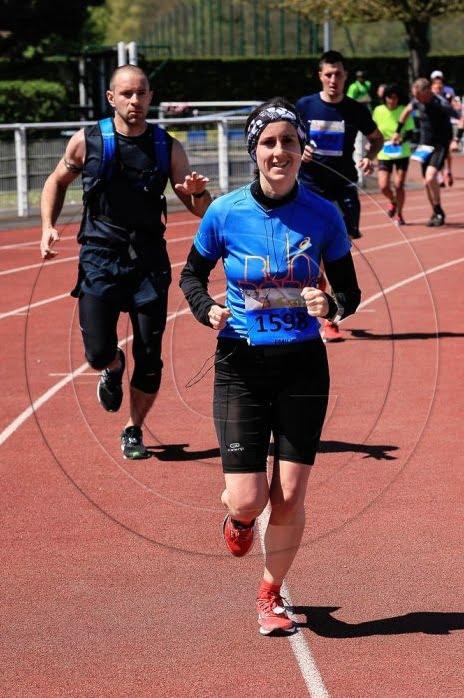 Mimi à l'arrivée du marathon