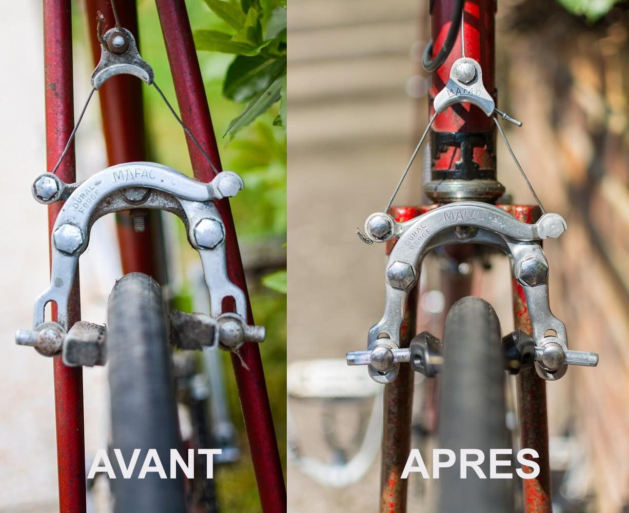 Différence entre avant et après la restauration du vieux vélo