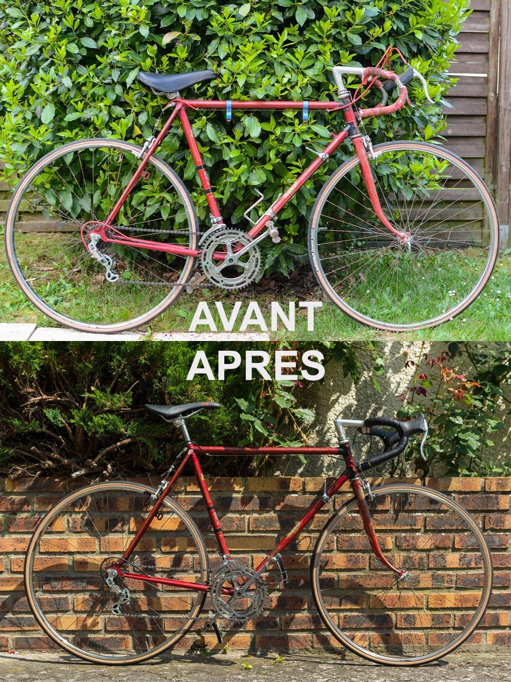 Vieux vélo avant puis après la restauration