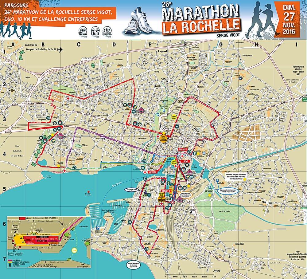 Plan du Marathon sur La Rochelle